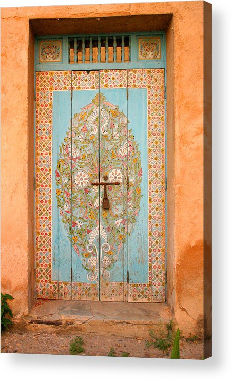 Door Acrylic Print featuring the photograph Colourful Moroccan Entrance Door Sale Rabat Morocco by Ralph A Ledergerber-Photography