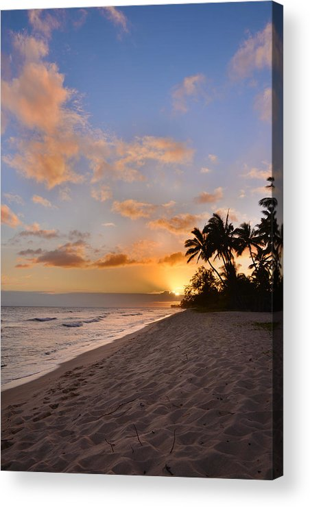 Ewa Beach State Park Palm Tree Sunset Oahu Hawaii Hi Acrylic Print featuring the photograph Ewa Beach Sunset 2 - Oahu Hawaii by Brian Harig