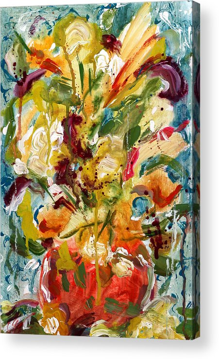 Abstract Vase Flower Print Acrylic Print featuring the painting Fantasy Floral 1 by Carole Goldman