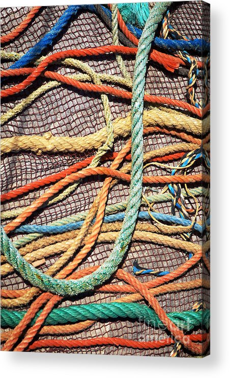 Abstract Acrylic Print featuring the photograph Fishing Ropes And Net by Carlos Caetano