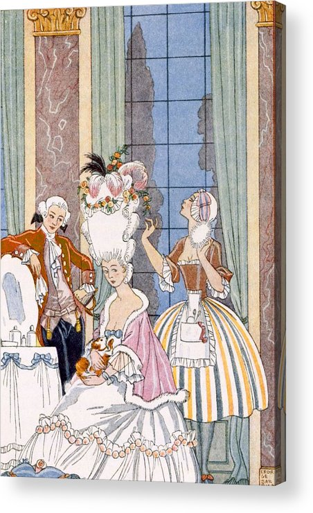 Stencil Acrylic Print featuring the painting France In The 18th Century by Georges Barbier
