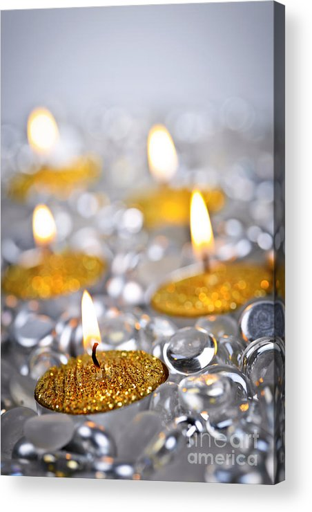 Candles Acrylic Print featuring the photograph Gold Christmas Candles by Elena Elisseeva