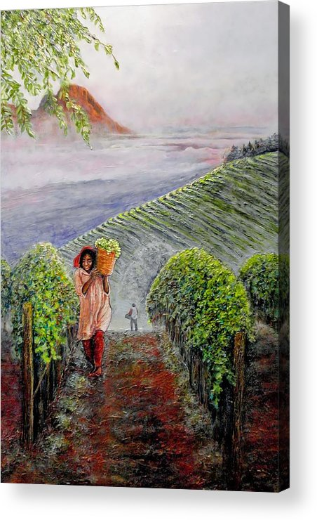 Vineyard Acrylic Print featuring the painting Harvest At Dawn by Michael Durst