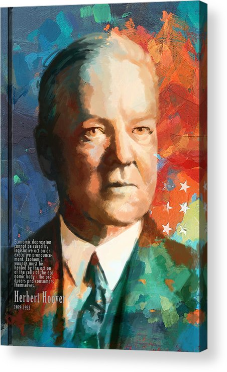 Herbert Hoover Acrylic Print featuring the painting Herbert Hoover by Corporate Art Task Force