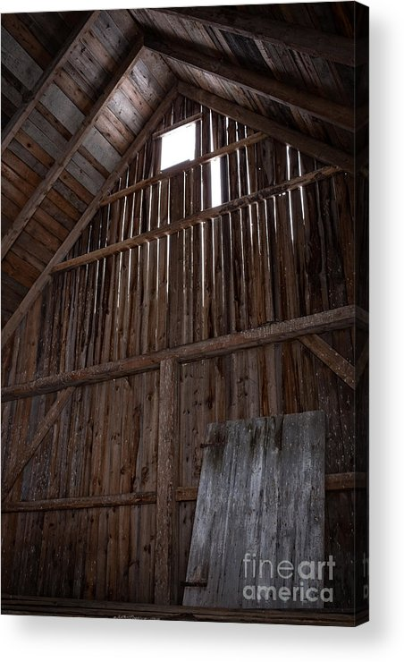Old Acrylic Print featuring the photograph Inside An Old Barn by Edward Fielding
