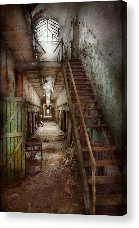 Jail Acrylic Print featuring the photograph Jail - Eastern State Penitentiary - Down A Lonely Corridor by Mike Savad
