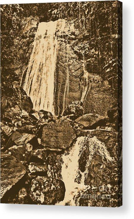 Puerto Rico Acrylic Print featuring the digital art La Coca Falls El Yunque National Rainforest Puerto Rico Prints Rustic by Shawn O'Brien