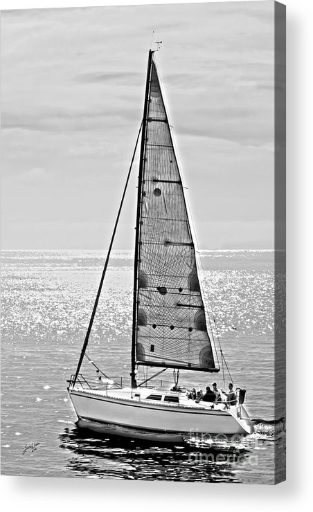 Sailboat Acrylic Print featuring the photograph New Dawn - Sailing Into Calm Waters by Artist and Photographer Laura Wrede