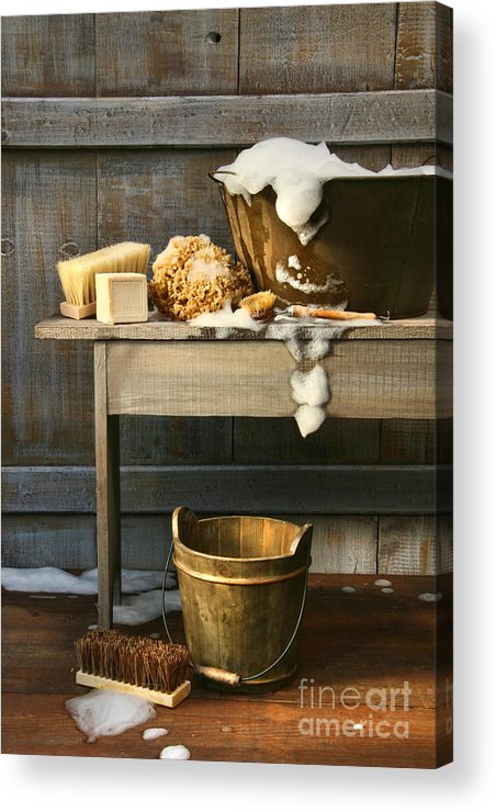 Antique Acrylic Print featuring the photograph Old Wash Tub With Soap And Scrub Brushes by Sandra Cunningham