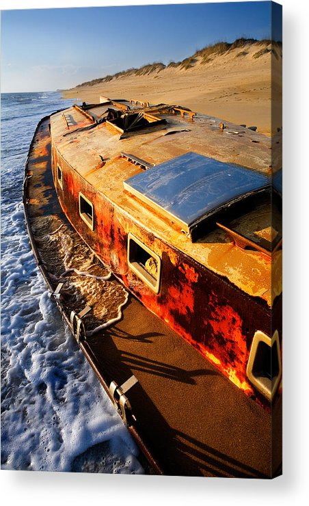 North Carolina Acrylic Print featuring the photograph Port Side Down Captain - Outer Banks by Dan Carmichael