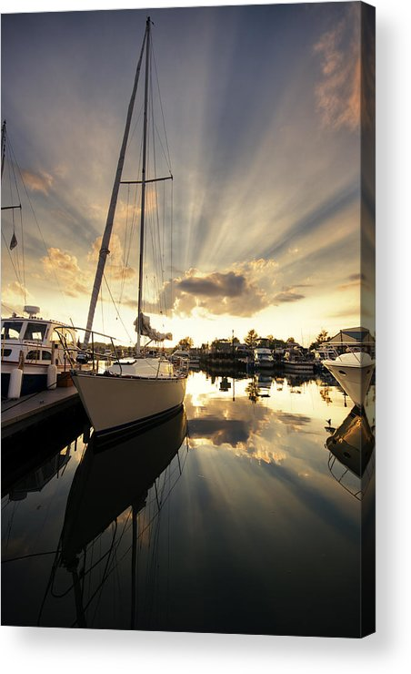 Sailboat Acrylic Print featuring the photograph Sailed In by Alexey Stiop