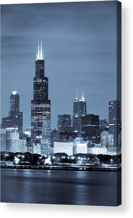 Chicago Skyline Acrylic Print featuring the photograph Sears Tower In Blue by Sebastian Musial