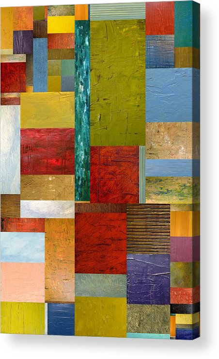 Textural Acrylic Print featuring the painting Strips And Pieces Lll by Michelle Calkins