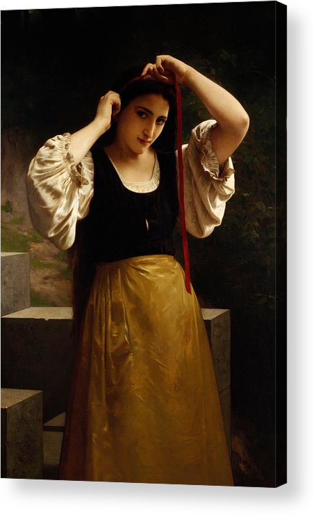 The Red Ribbon Acrylic Print featuring the painting The Red Ribbon by William Adolphe Bouguereau