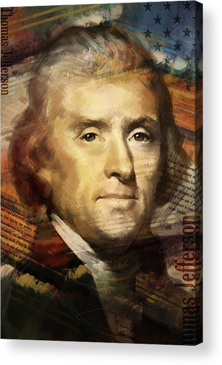 Thomas Jefferson Acrylic Print featuring the painting Thomas Jefferson by Corporate Art Task Force