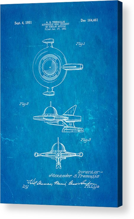 Automotive Acrylic Print featuring the photograph Tremulis Spaceship Hood Ornament Patent Art 1951 Blueprint by Ian Monk