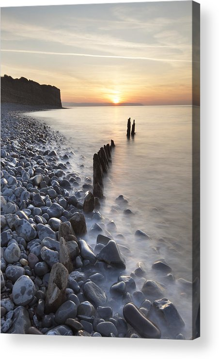 Vertical Acrylic Print featuring the photograph Sunset At The Remains Of Lilstock Pier by Nick Cable