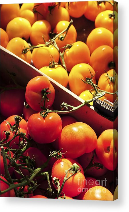 Tomato Acrylic Print featuring the photograph Tomatoes On The Market by Elena Elisseeva