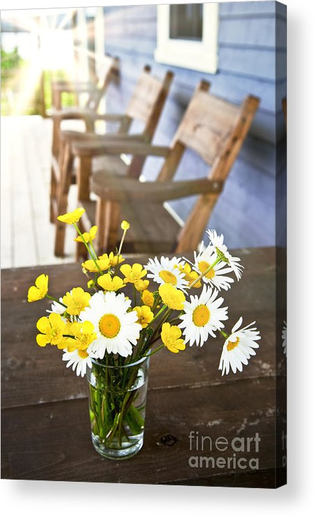 Bouquet Acrylic Print featuring the photograph Wildflowers Bouquet At Cottage by Elena Elisseeva