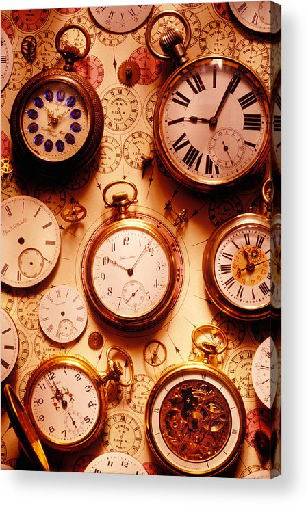Time Acrylic Print featuring the photograph Assorted Watches On Time Chart by Garry Gay