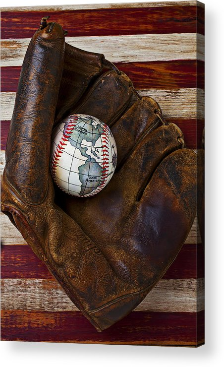 Folk Art American Flag Acrylic Print featuring the photograph Baseball Mitt With Earth Baseball by Garry Gay