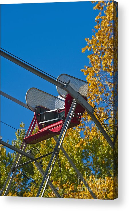 Amusement Acrylic Print featuring the photograph Empty Chair On Ferris Wheel by Thom Gourley/Flatbread Images, LLC