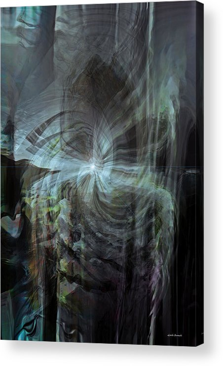 Abstract Acrylic Print featuring the digital art Fear Of The Unknown by Linda Sannuti