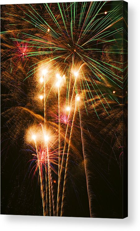 4th Of July Acrylic Print featuring the photograph Fireworks In Night Sky by Garry Gay