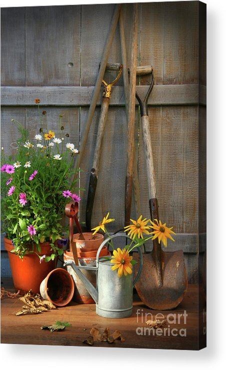 Activity Acrylic Print featuring the photograph Garden Shed With Tools And Pots by Sandra Cunningham