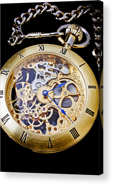 Time Acrylic Print featuring the photograph Gold Pocket Watch by Garry Gay