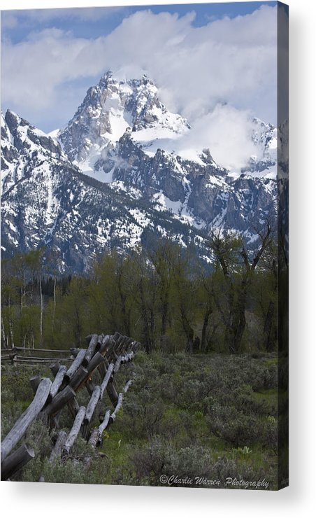 Grand Tetons Acrylic Print featuring the photograph Grand Teton Fence by Charles Warren