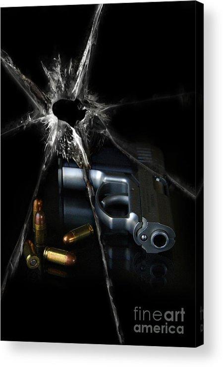 Gun Acrylic Print featuring the photograph Handgun Bullets And Bullet Hole by Jill Battaglia