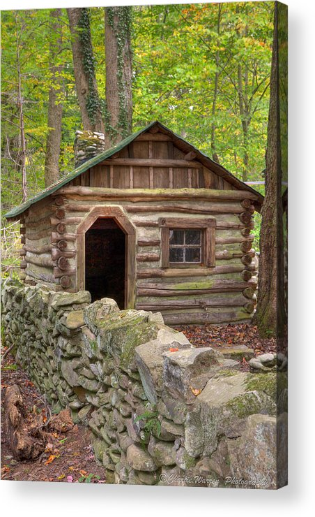 Log Cabin Acrylic Print featuring the photograph Little Cabin On Little River by Charles Warren