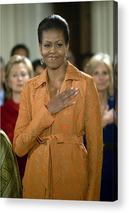 Michelle Obama Acrylic Print featuring the photograph Michelle Obama At A Public Appearance by Everett