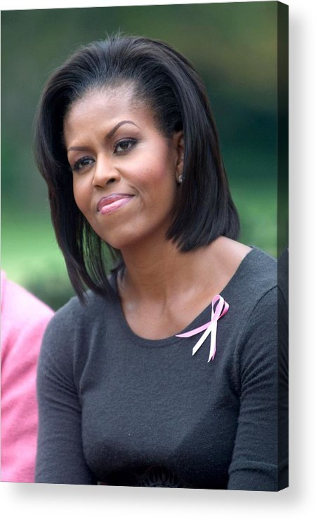 Michelle Obama Acrylic Print featuring the photograph Michelle Obama At The Press Conference by Everett