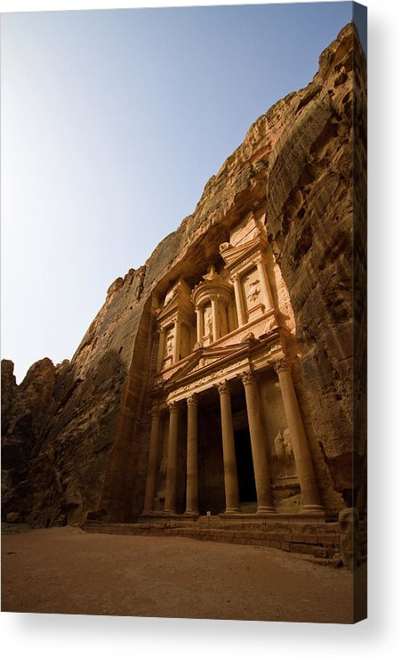 Vertical Acrylic Print featuring the photograph Petra Treasury At Morning by Universal Stopping Point Photography