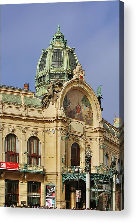 Obecni Dum Acrylic Print featuring the photograph Prague Obecni Dum - Municipal House by Christine Till