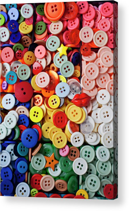 Buttons Sew Mend Affix Collect Acrylic Print featuring the photograph Red Lips Button by Garry Gay