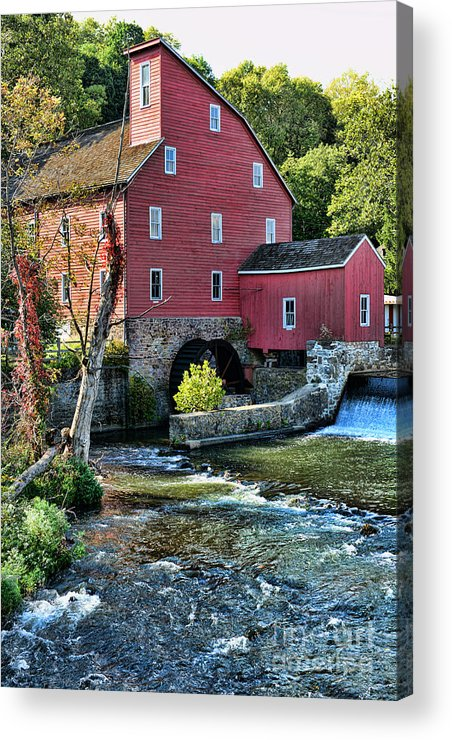 Paul Ward Acrylic Print featuring the photograph Red Mill On The Water by Paul Ward