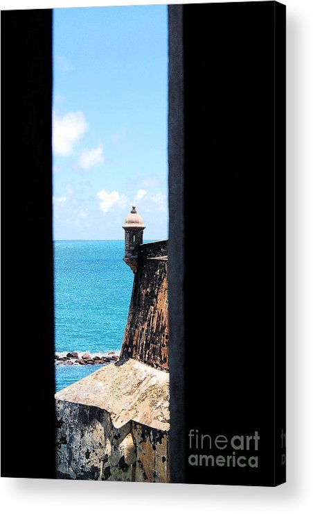 El Morro Acrylic Print featuring the digital art Sentry Tower View Castillo San Felipe Del Morro San Juan Puerto Rico Ink Outlines by Shawn O'Brien