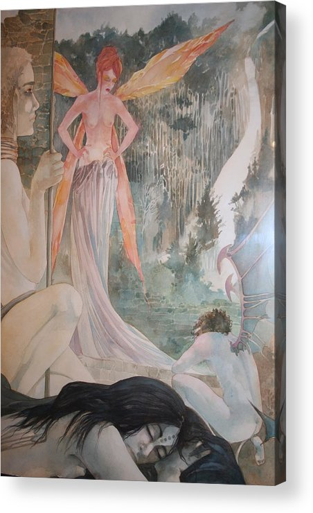 Fairies Demons Dreams Sleep  Acrylic Print featuring the drawing The Exile by Jackie Rock