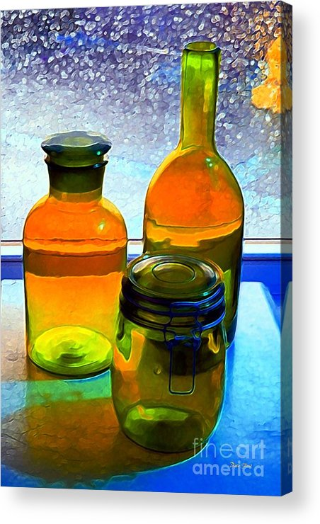 Bottles Acrylic Print featuring the digital art Three Bottles In Window by Dale  Ford