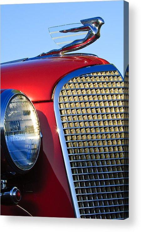 1937 Cadillac V8 Acrylic Print featuring the photograph 1937 Cadillac V8 Hood Ornament 2 by Jill Reger