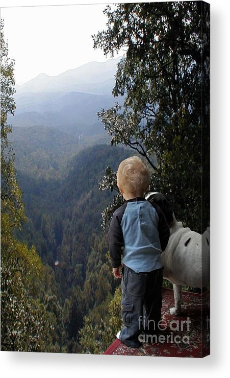 Boy Acrylic Print featuring the photograph A Boy And His Dog by Robert Meanor