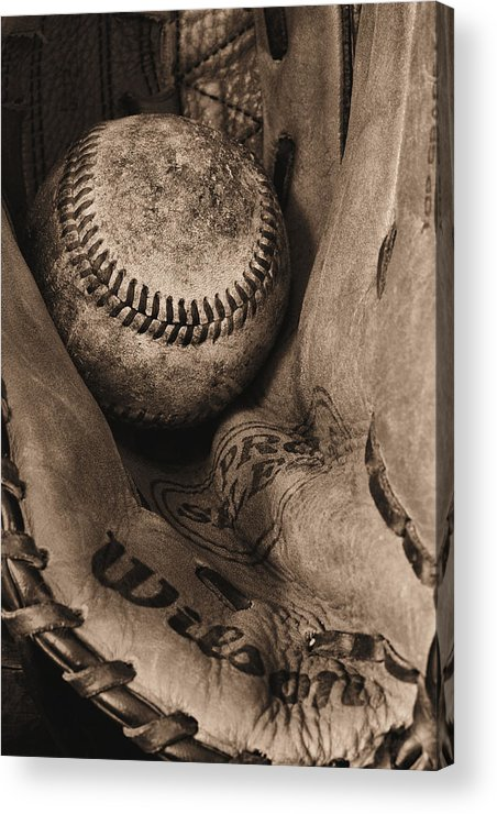 Baseball Acrylic Print featuring the photograph Broken In Bw by JC Findley
