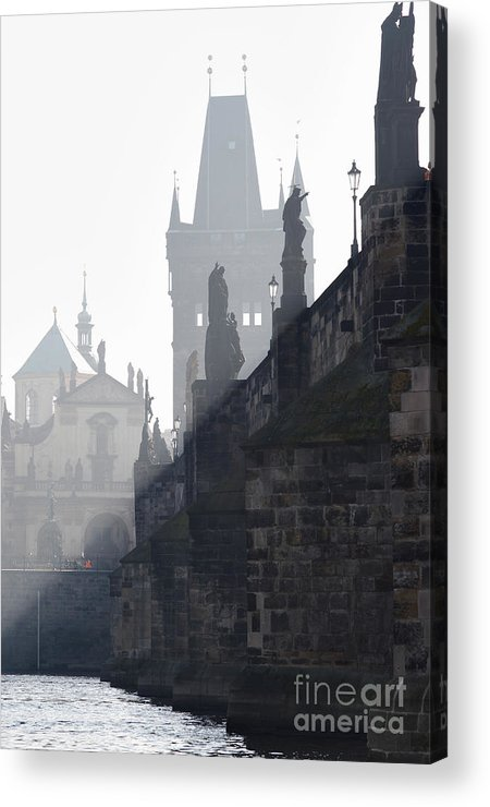 Bridge Acrylic Print featuring the photograph Charles Bridge In The Early Morning Fog by Michal Boubin