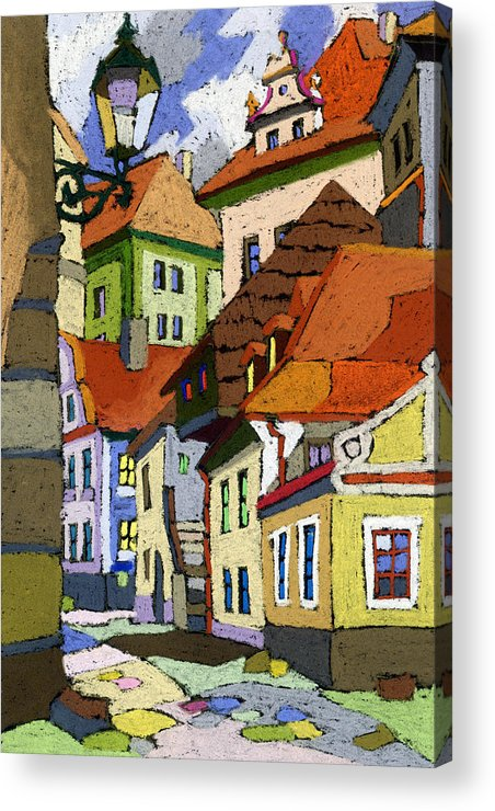 Pastel Acrylic Print featuring the painting Chesky Krumlov Masna Street 1 by Yuriy Shevchuk
