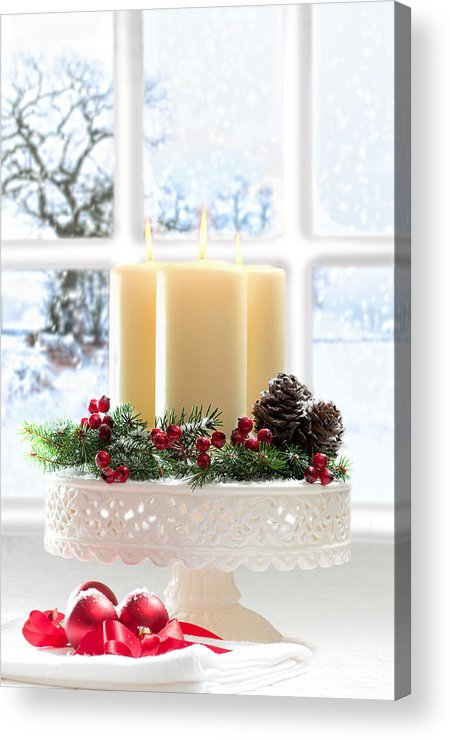 Christmas Acrylic Print featuring the photograph Christmas Candles Display by Amanda Elwell
