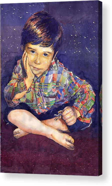 Watercolor Watercolour Portret Figurativ Realism People Commissioned Acrylic Print featuring the painting Denis 01 by Yuriy Shevchuk