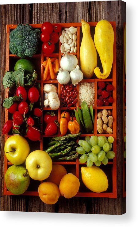 Fruits Vegetables Apples Grapes Compartments Acrylic Print featuring the photograph Fruits And Vegetables In Compartments by Garry Gay